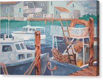Canvas Print featuring the painting Boat Works by Tony Caviston