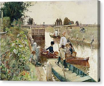 Boaters In A Lock On The Thames Canvas Print by Hector Caffieri