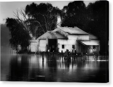 Canvas Print featuring the photograph Boathouse Bw by Bill Wakeley