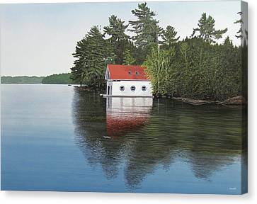 Boathouse Canvas Print by Kenneth M  Kirsch