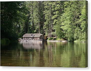 Boathouse On The Brule Canvas Print by Ron Read