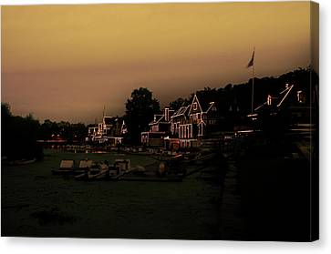 Canvas Print featuring the photograph Boathouse Row From The Lagoon Before Dawn by Bill Cannon