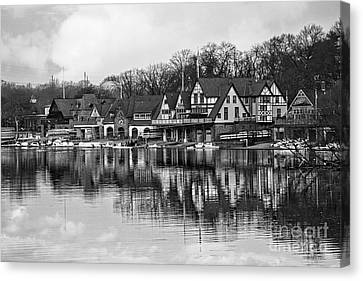 Kelly Drive Canvas Print - Boathouse Row In Black And White by Tom Gari Gallery-Three-Photography