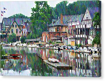 Painterly Canvas Print - Boathouse Row In Philadelphia by Bill Cannon