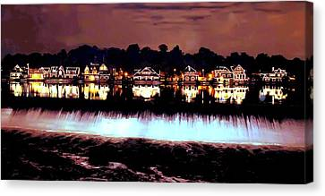 Boathouse Row In The Night Canvas Print by Bill Cannon