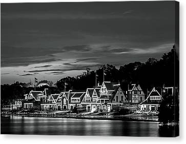 Kelly Drive Canvas Print - Boathouse Row Philadelphia Pa Night Black And White by Terry DeLuco