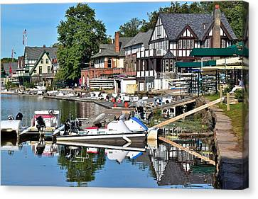 Boathouse Row Reflecting Canvas Print by Frozen in Time Fine Art Photography
