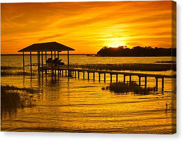 Boathouse Sunset Canvas Print by Rich Leighton