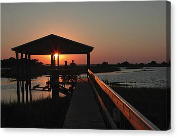 Boathouse Sunset Canvas Print by Stacey Lynn Payne
