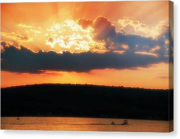 Boating At Sun Set Finger Lakes New York Canvas Print by Thomas Woolworth
