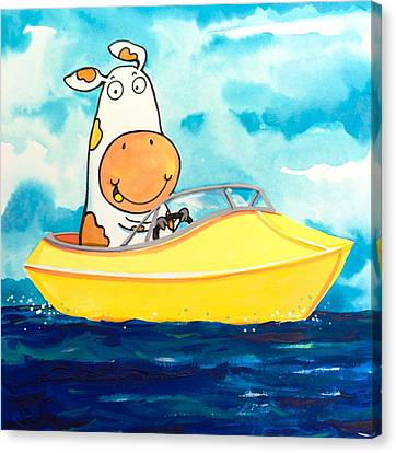 Scott Nelson Canvas Print - Boating Cow by Scott Nelson