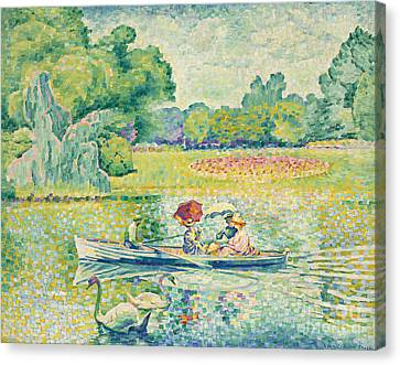 Boating In The Bois De Boulogne Canvas Print by Henri-Edmond Cross