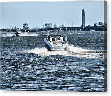 Boating Off Of Jones Beach Canvas Print by Mikki Cucuzzo