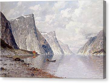 Boating On A Norwegian Fjord Canvas Print by Johann II Jungblut