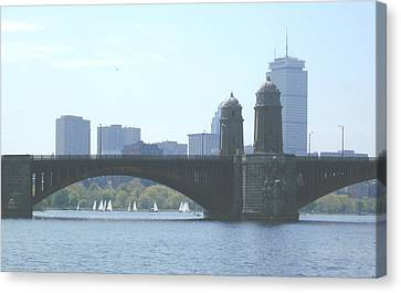 Boating On The Charles Canvas Print by Laura Lee Zanghetti