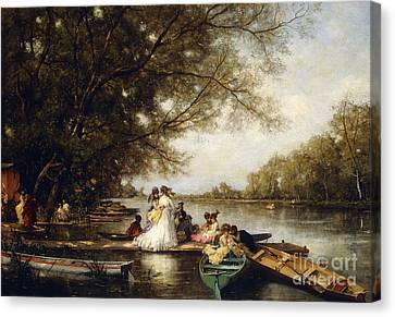 Boating Party On The Thames Canvas Print