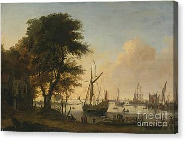 Boating Scene With A Royal Canvas Print by MotionAge Designs