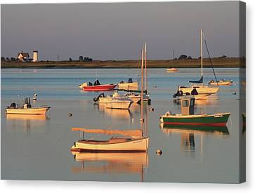 Boats And Stage Harbor Lighthouse Chatham Cape Cod Canvas Print by John Burk