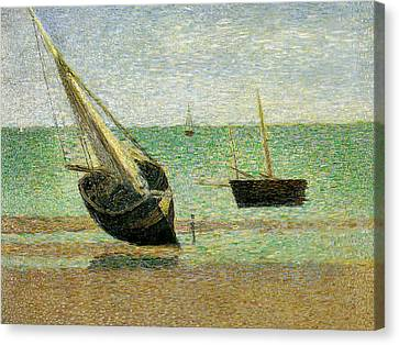Seurat Canvas Print - Boats At Grandcamp by Georges Pierre Seurat