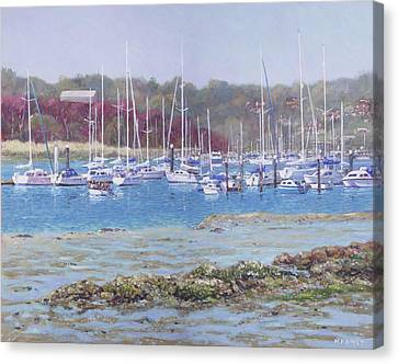 Canvas Print featuring the painting Boats At Hamble Marina by Martin Davey