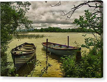 Boats At Holy Island County Clare Ireland Canvas Print by Joe Houghton