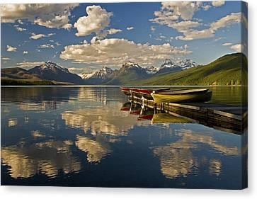 Canvas Print featuring the photograph Boats At Lake Mcdonald by Gary Lengyel