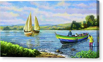 Canvas Print featuring the painting Boats At Lake Victoria by Anthony Mwangi