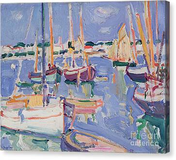 Boats At Royan Canvas Print by Samuel John Peploe