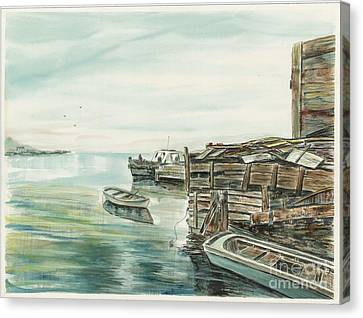 Boats At The Dock Canvas Print by Samuel Showman