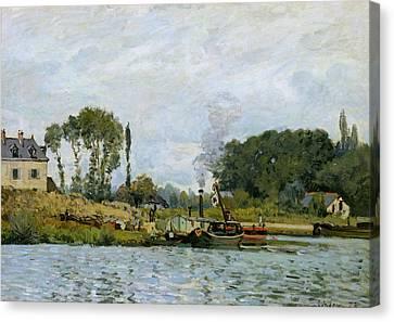 Boats At The Lock At Bougival Canvas Print by Alfred Sisley