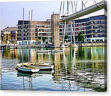 Canvas Print featuring the photograph Boats Becalmed Rvd by Jack Torcello