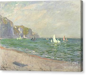 Boats Below The Cliffs At Pourville Canvas Print by Claude Monet