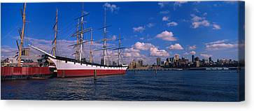 Boats Docked At A Seaport, South Street Canvas Print by Panoramic Images