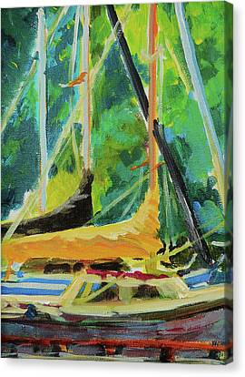 Boats Docked In The Morning Canvas Print by Margaret  Plumb