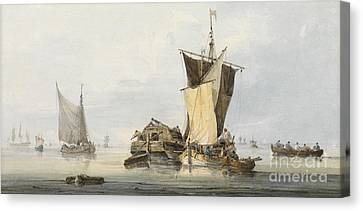 Boats In A Calm Canvas Print