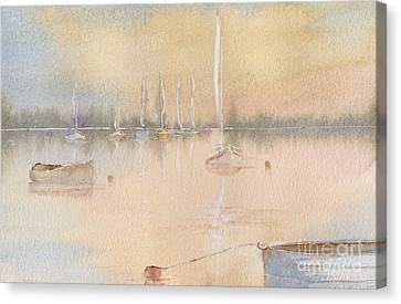 Boats In A Marina 2. Canvas Print by Kim Hamilton