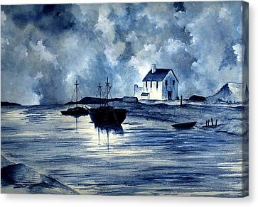 Boats In Blue Canvas Print by Michael Vigliotti