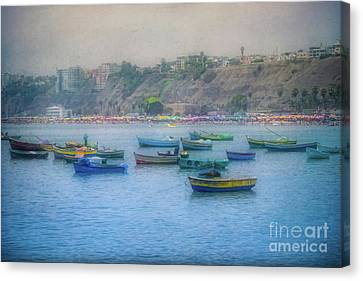 Boats In Blue Twilight - Lima, Peru Canvas Print by Mary Machare