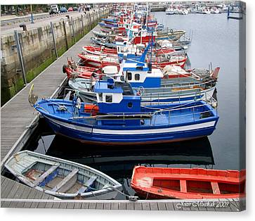 Canvas Print featuring the photograph Boats In Norway by Joan  Minchak