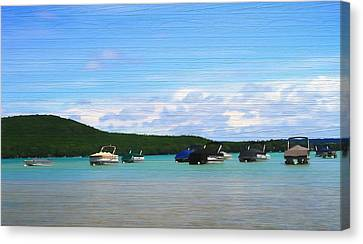 Boats In Sleeping Bear Bay Wood Texture Canvas Print by Dan Sproul