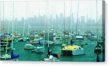 Boats In The Bay Canvas Print by Russ Harris