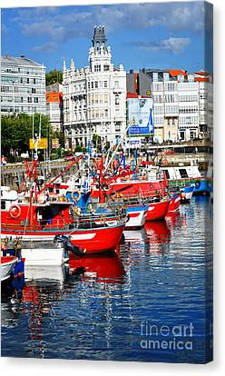Boats In The Harbor - La Coruna Canvas Print