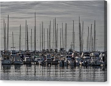 Canvas Print featuring the photograph Boats In The Izola Marina - Slovenia by Stuart Litoff