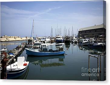 Boats In The Jaffa Port Canvas Print by John Rizzuto