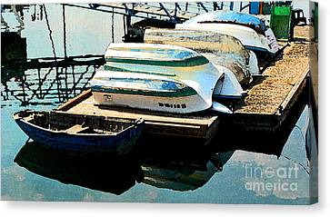 Canvas Print featuring the photograph Boats In Waiting by Larry Keahey