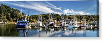 Canvas Print featuring the photograph Boats In Winchester Bay by James Eddy