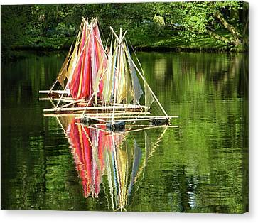Canvas Print featuring the photograph Boats Landscape by Manuela Constantin