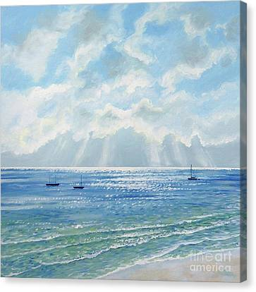 Boats Moored In The Morning Sun Canvas Print