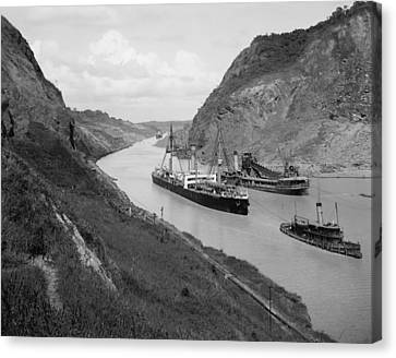 Boats Move Through Panama Canal Canvas Print by Everett