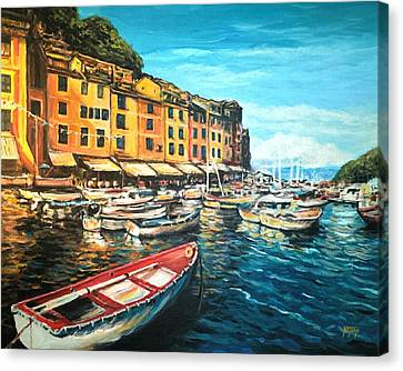 Boats Of Portofino  Canvas Print by Nathan Lewis